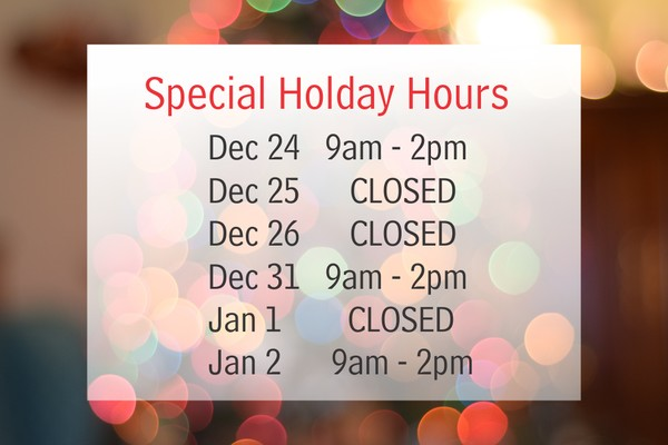 special holiday hours in December and January